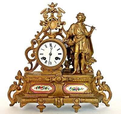 Antique French Gilt Mantel Clock Porcelain Panels, H.marc, Farming, Mythological