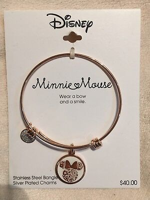 Disney Minnie Mouse Rose Gold Charm Bangle Compatible with Alex & Ani Bracelets
