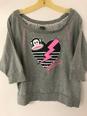 Paul Frank Julius The Monkey Grey Women's Pullover Hoodie Sweater Size L
