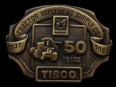 Ic17154 Vintage 1987 ***tractor Implement Supply Co.*** Brasstone Buckle
