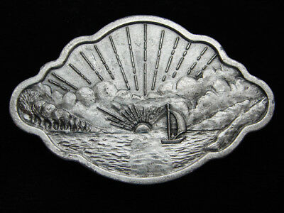Qa09115 Vintage 1977 **Sailing At Sunset (Sailboat)** Art Pewter Bergamot Buckle