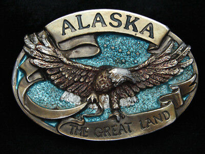 Pe05147 Vintage 1984 **Alaska The Great Land** State Commemorative Belt Buckle