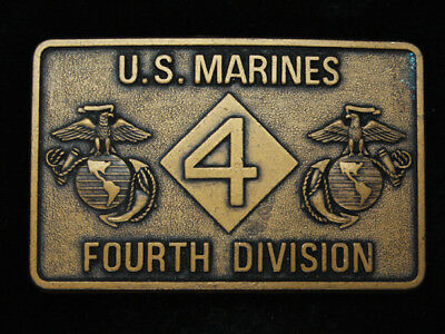 RA11131 VINTAGE 1970s **U.S. MARINES FOURTH DIVISION** MILITARY BELT BUCKLE