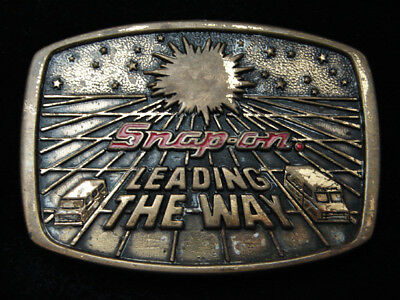 Ql01152 Vintage 1988 **Snap-On Leading The Way** Tools Solid Brass Belt Buckle