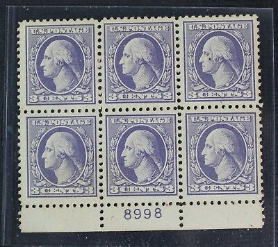 CKStamps: US Stamps Collection Scott#530 3c Block Mint NH OG Lightly Toned
