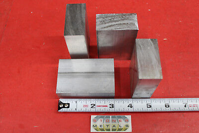 "4 Pieces 1"" X 2"" ALUMINUM 6061 FLAT BAR 3"" long Solid Extruded Plate MILL STOCK"