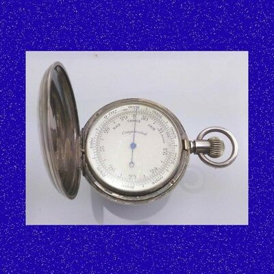 Victorian Mint Solid Silver Aneroid Pocket Watch Barometer Altimeter Hunter 1897