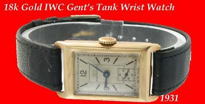WW2 Vintage Mint 9k Gold IWC Gent's Oblong Wrist Watch 1943