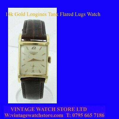 Stunning 14k Gold Art Deco Longines Gents Flared Lugs Wrist Watch 1958