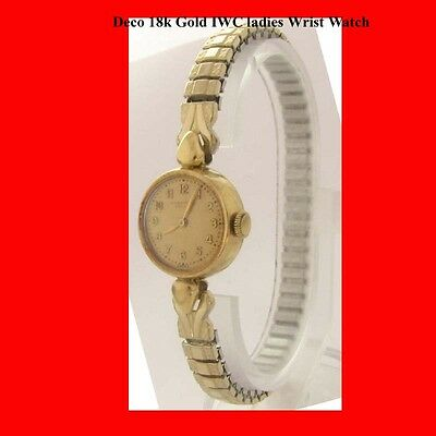 Mint 18k Gold IWC Ladies Deco Bracelet Wrist Watch 1968