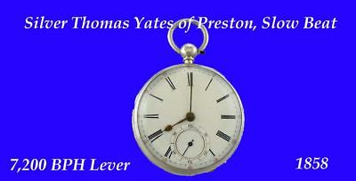 Rare Silver Yates of Preston Slow Beat Fusee Lever Pocket Watch 1858