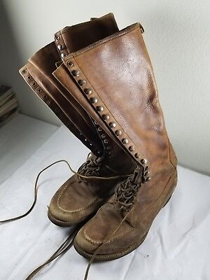 Mens c.1920s Tall Vintage Lace-Up Leather Boots NAP-A-TAN San Francisco