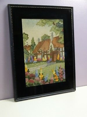 Amazing Vintage Antique Embroidery Needlepoint In Frame