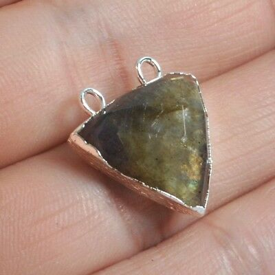 Triangle Natural Labradorite Faceted Connector Silver Plated H128963
