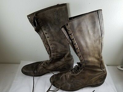 Mens c.1930s Tall Vintage Lace-Up Leather Hiking or Hunting Work Boots