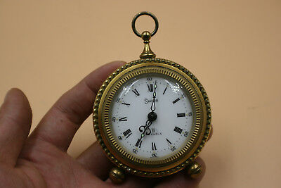 Vintage SWIZA 8 Day 7 Jewels Pocket Watch Mantel Alarm Clock - Swiss - Working