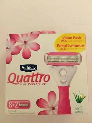 Schick Quattro for Women Value Pack Razor Cartridges 10ct with Aloe & Vitamin E