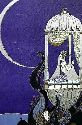 Anne Fish 1922 PERSIAN IRANIAN PRINCESS Crescent Eve Moon Art Deco Print Matted