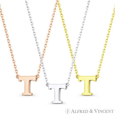 """Initial Letter """"T"""" 14k Rose White Yellow Gold Pendant & Chain Necklace"""