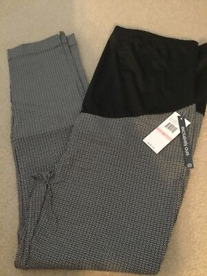 NWT Women's Flutter & Kick Maternity slacks career pants size large black white