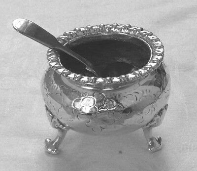 Early 20th Century Heavy Silver Plated Ornate Mustard Pot & odd Spoon