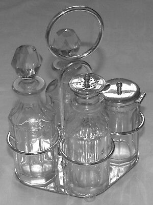 4 Station Silver Plated Cruet with Cut Glass Bottles Plato Brand 20th Century