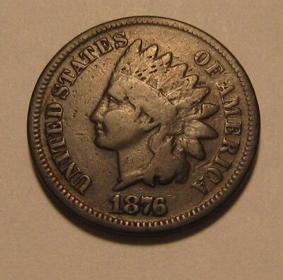 1876 Indian Head Cent Penny - Fine Condition - 25SA-2