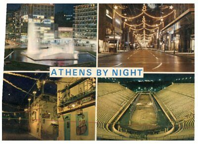(FR 14) postcrd - Greece - Ahtens by night (with Olympic Stadium)