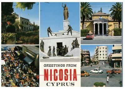 (FR 14) postcrd - Cyprus - Nicosia Greetings  (with stamps)