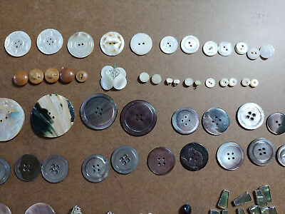 mother of pearl buttons, old shell buttons lot, vintage mother of pearl necklace