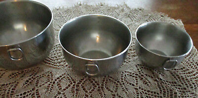 VINTAGE 3  Heavy Stainless Steel Mixing Bowls with Hanging Rings 3 qt  2 qt 1 qt