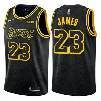 wholesale dealer 0875e fcb03 Men s Nike Los Angeles Lakers  23 LeBron James Swingman Black City Edition  NBA J