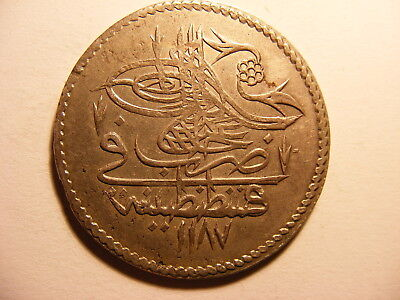 Turkey Large Silver Piastre, AH1187 Year 10, KM#398, XF (for Issue)
