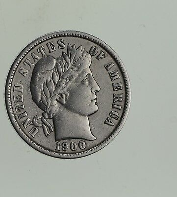 Higher Grade - 1900 Barber Liberty US Silver Dime - Great Detail in LIBERTY *593
