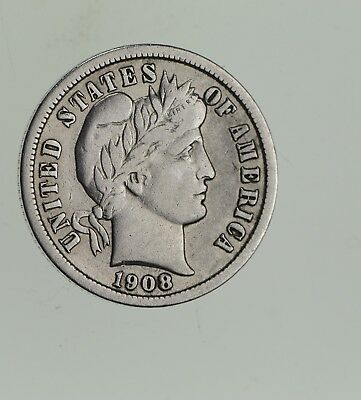 Higher Grade - 1908 Barber Liberty US Silver Dime - Great Detail in LIBERTY *607