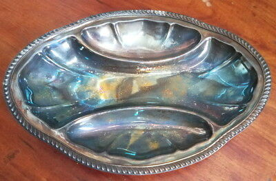 """Vintage midcentury Poole Silver Co divided plate, 11"""" x 8"""", silver on copper"""
