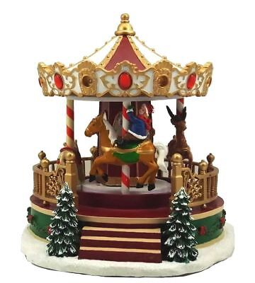 "St Nicholas Square Village ""christmas Carousel"" Animated Musical * Free Shipping"