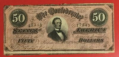 1864 $50 US Confederate States of America! Rough! Old US Paper Money Currency!