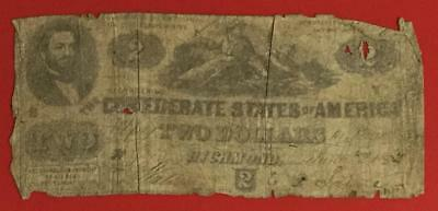 1862 $2 US Confederate States of America! Rough Currency! Old US DEUCE!