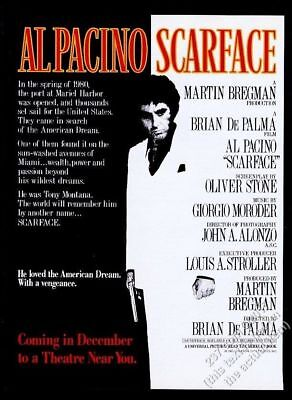 1983 Scarface movie release Al Pacino photo as Tony Montana vintage print ad