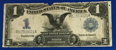 "1899 $1 Blue ""LARGE SIZE"" SILVER Certificate ""BLACK EAGLE"" Rough Currency X021"