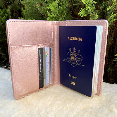 Australia Passport Cover Travel Holder Leather Look Case Skins AU RFID Blocking