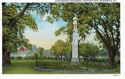 ~1940's BRUNSWICK GA - Confederate Monument, Hanover Park - in color
