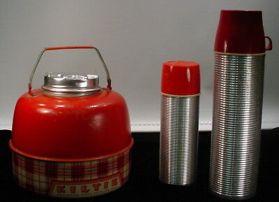 Vintage Lot  Vintage Kiltie Water Jug And 2 Thermos Brand Thermos W/Red Lids