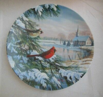 "1990 ""Cardinals in Winter"" Collector Plate - COA - Birds of the Season Sam TIMM"