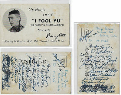 """Harry Otto Postcard-His photo-""""I FOOL YU"""" -Chinese Magician Characer-Worn-Cx"""