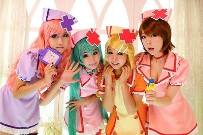 Nurse Uniform Cosplay Costume Vocaloid Hatsune Miku Purple Orange Pink Red party