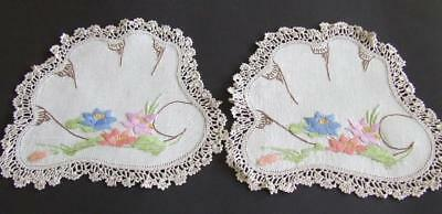 Two Lovely Matching Vintage Doilies - Colourful Waterlilies - Crocheted Edgings