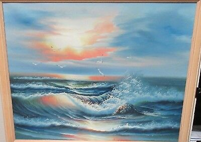 H.gailey Original Oil On Canvas Seascape Waves Sunset Painting