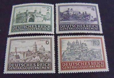 Third Reich WW2 occupationGeneral Government 1943 Polish Castles stamps -MNH-